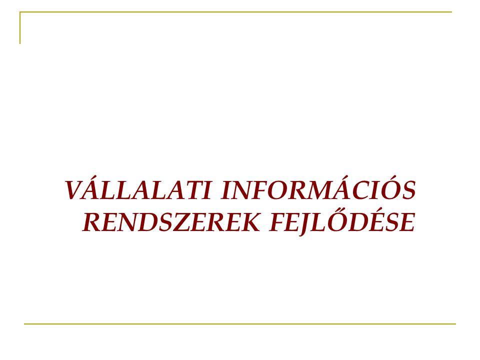 VÁLLALATI INFORMÁCIÓS RENDSZEREK FEJLŐDÉSE