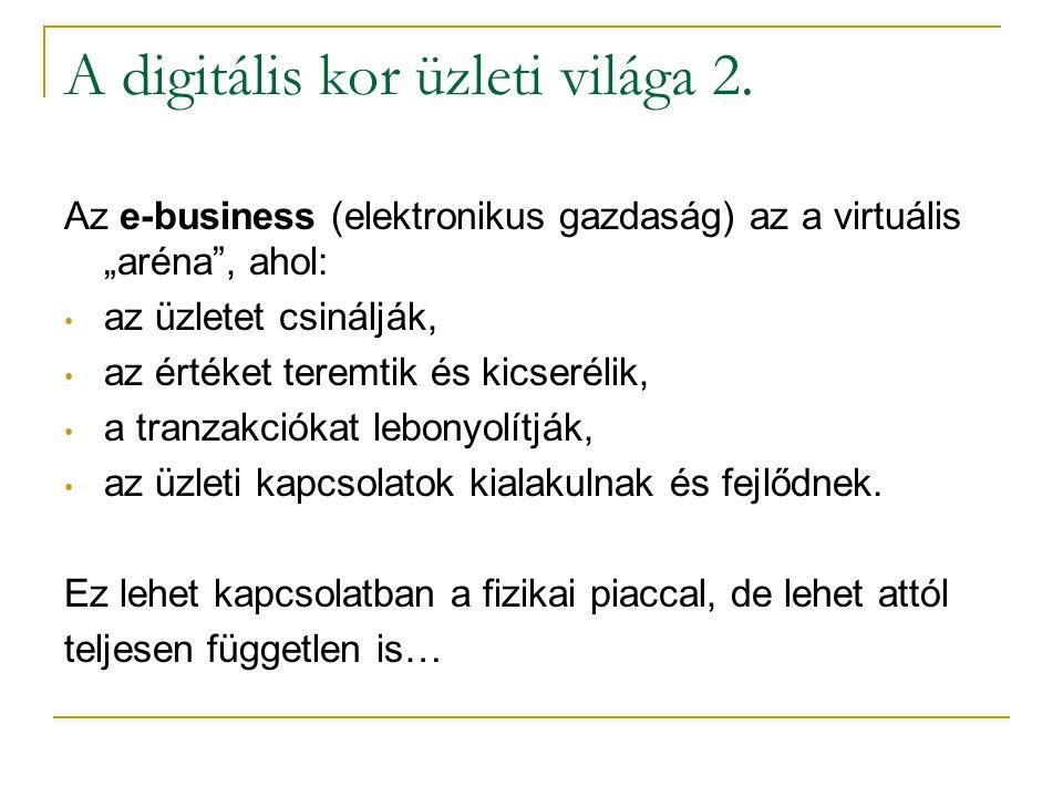 """A digitális kor üzleti világa 2. Az e-business (elektronikus gazdaság) az a virtuális """"aréna"""", ahol: • az üzletet csinálják, • az értéket teremtik és"""