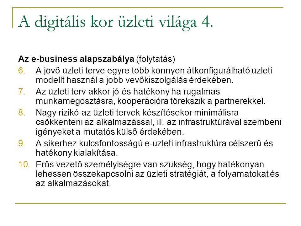 A digitális kor üzleti világa 4. Az e-business alapszabálya (folytatás) 6.A jövő üzleti terve egyre több könnyen átkonfigurálható üzleti modellt haszn