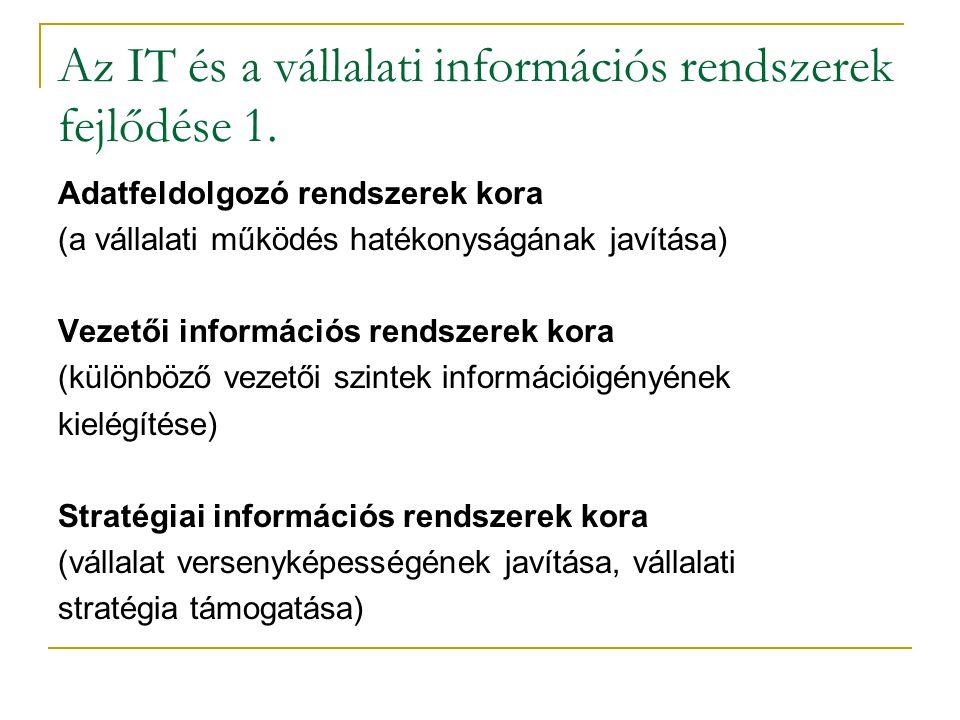 Az IT és a vállalati információs rendszerek fejlődése 1. Adatfeldolgozó rendszerek kora (a vállalati működés hatékonyságának javítása) Vezetői informá