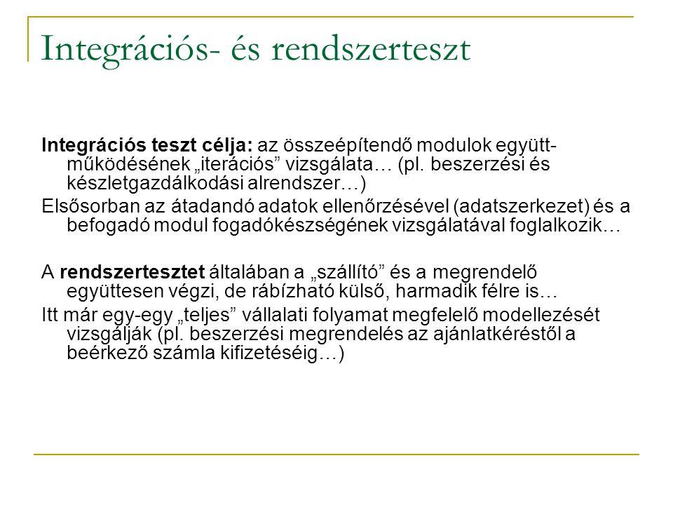 """Integrációs- és rendszerteszt Integrációs teszt célja: az összeépítendő modulok együtt- működésének """"iterációs"""" vizsgálata… (pl. beszerzési és készlet"""