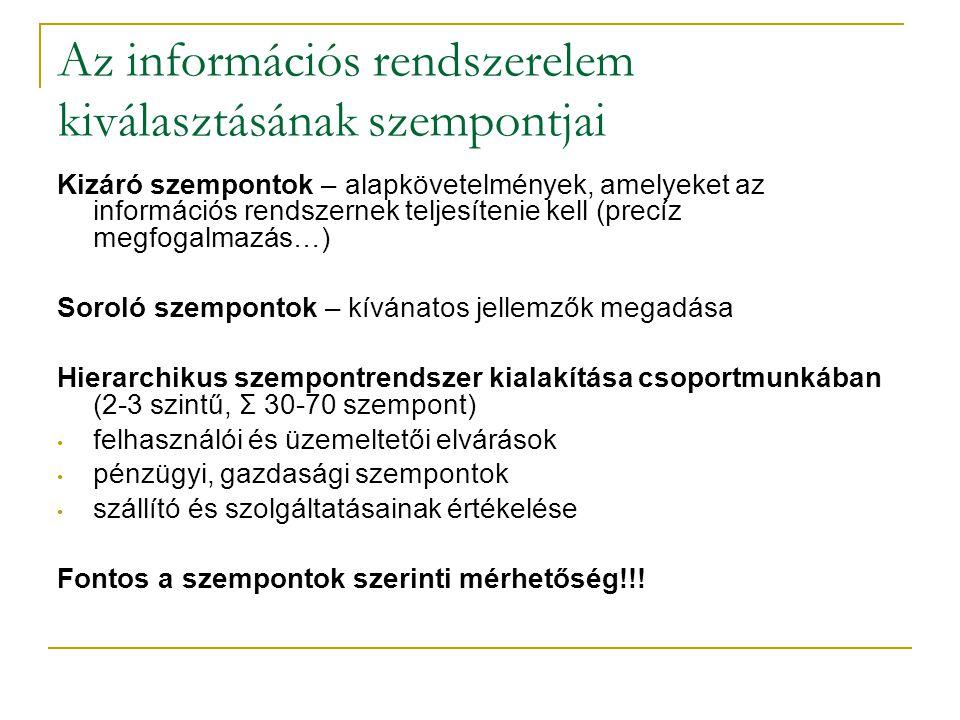 Az információs rendszerelem kiválasztásának szempontjai Kizáró szempontok – alapkövetelmények, amelyeket az információs rendszernek teljesítenie kell