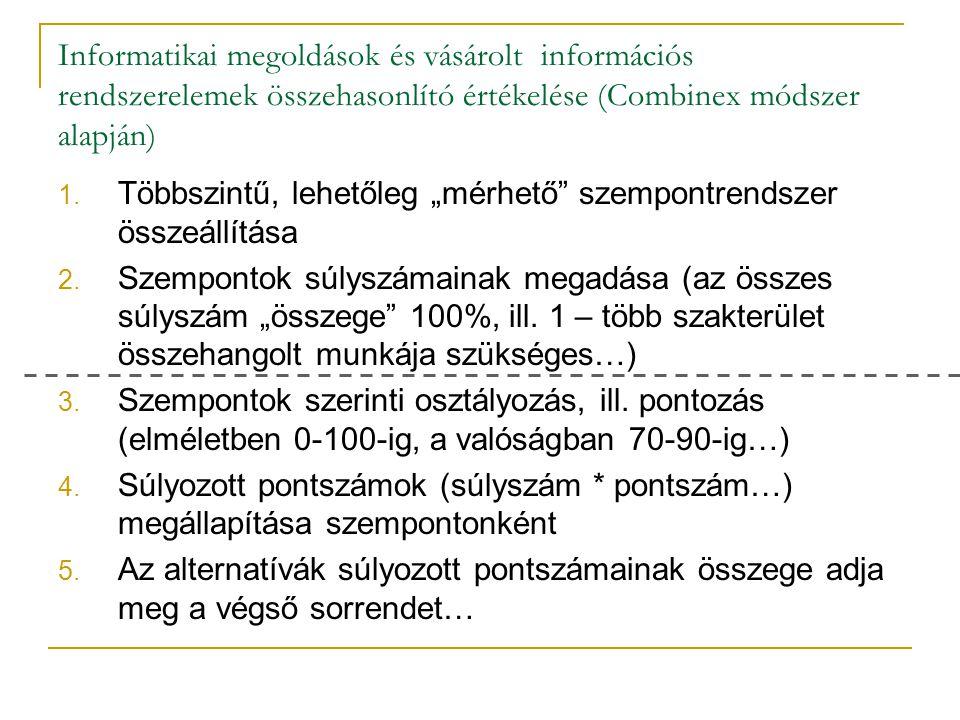 """Informatikai megoldások és vásárolt információs rendszerelemek összehasonlító értékelése (Combinex módszer alapján) 1. Többszintű, lehetőleg """"mérhető"""""""