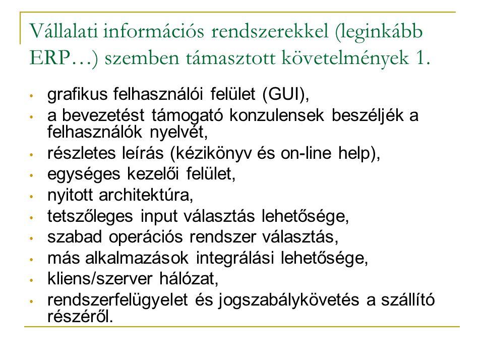 Vállalati információs rendszerekkel (leginkább ERP…) szemben támasztott követelmények 1. • grafikus felhasználói felület (GUI), • a bevezetést támogat