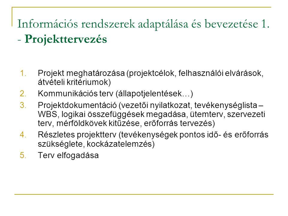 Információs rendszerek adaptálása és bevezetése 1. - Projekttervezés 1. Projekt meghatározása (projektcélok, felhasználói elvárások, átvételi kritériu