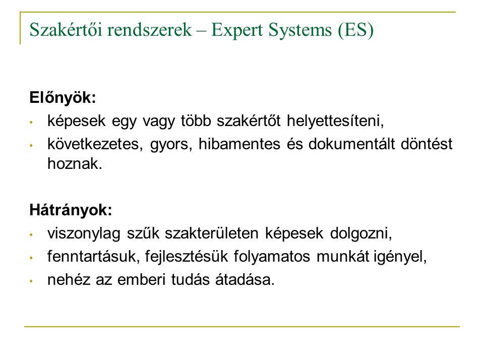 Szakértői rendszerek – Expert Systems (ES) Előnyök: • képesek egy vagy több szakértőt helyettesíteni, • következetes, gyors, hibamentes és dokumentált
