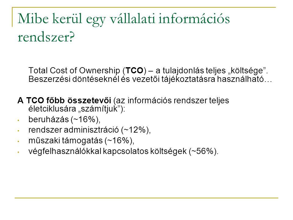 """Mibe kerül egy vállalati információs rendszer? Total Cost of Ownership (TCO) – a tulajdonlás teljes """"költsége"""". Beszerzési döntéseknél és vezetői tájé"""
