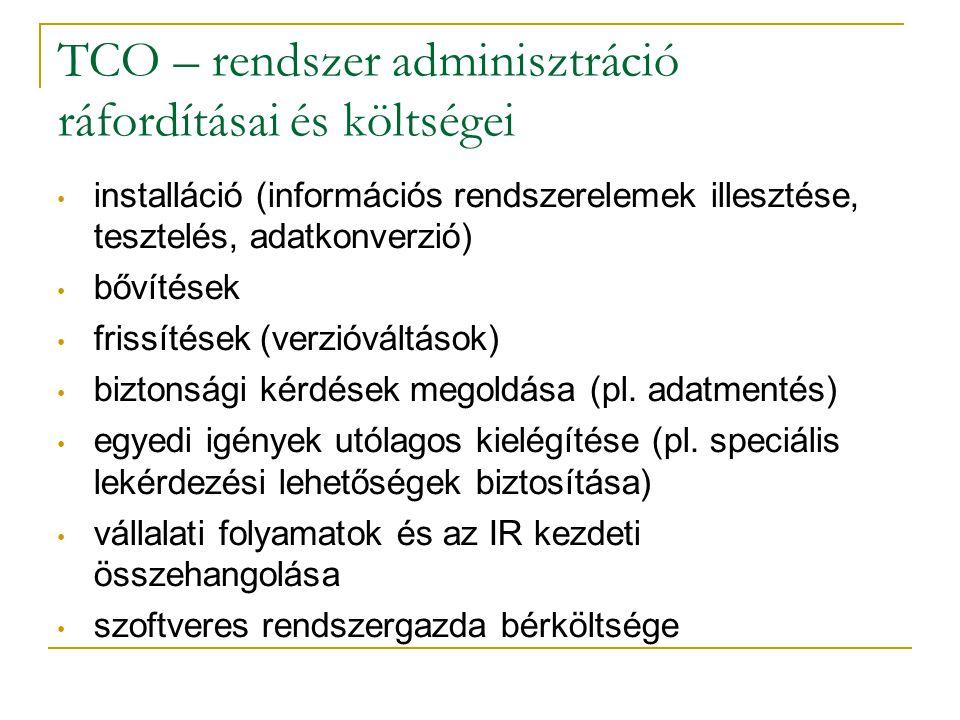TCO – rendszer adminisztráció ráfordításai és költségei • installáció (információs rendszerelemek illesztése, tesztelés, adatkonverzió) • bővítések •
