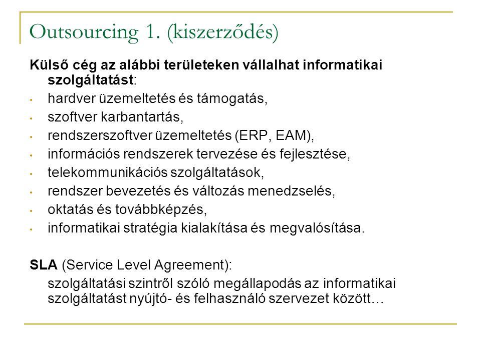 Outsourcing 1. (kiszerződés) Külső cég az alábbi területeken vállalhat informatikai szolgáltatást: • hardver üzemeltetés és támogatás, • szoftver karb