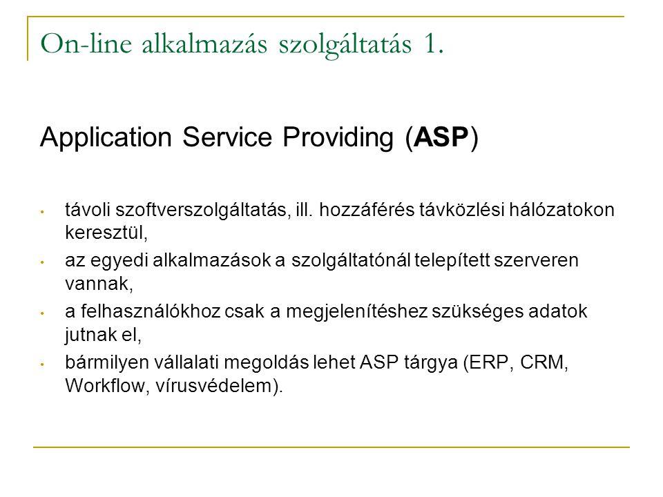 On-line alkalmazás szolgáltatás 1. Application Service Providing (ASP) • távoli szoftverszolgáltatás, ill. hozzáférés távközlési hálózatokon keresztül
