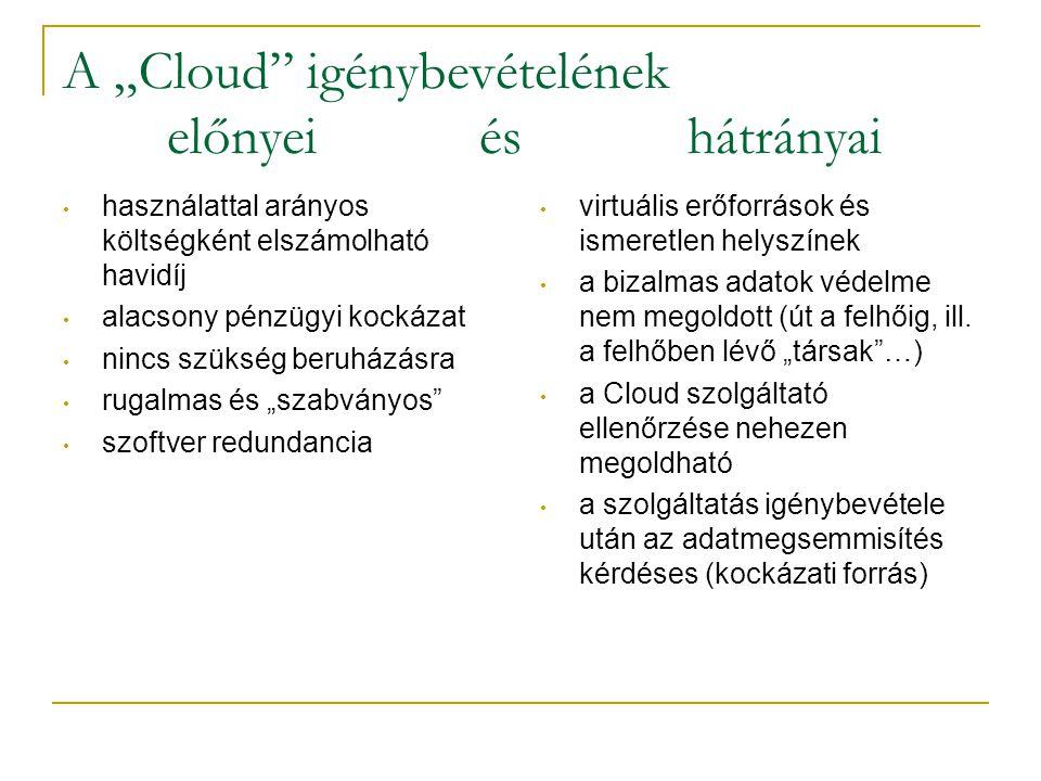 """A """"Cloud"""" igénybevételének előnyei és hátrányai • használattal arányos költségként elszámolható havidíj • alacsony pénzügyi kockázat • nincs szükség b"""