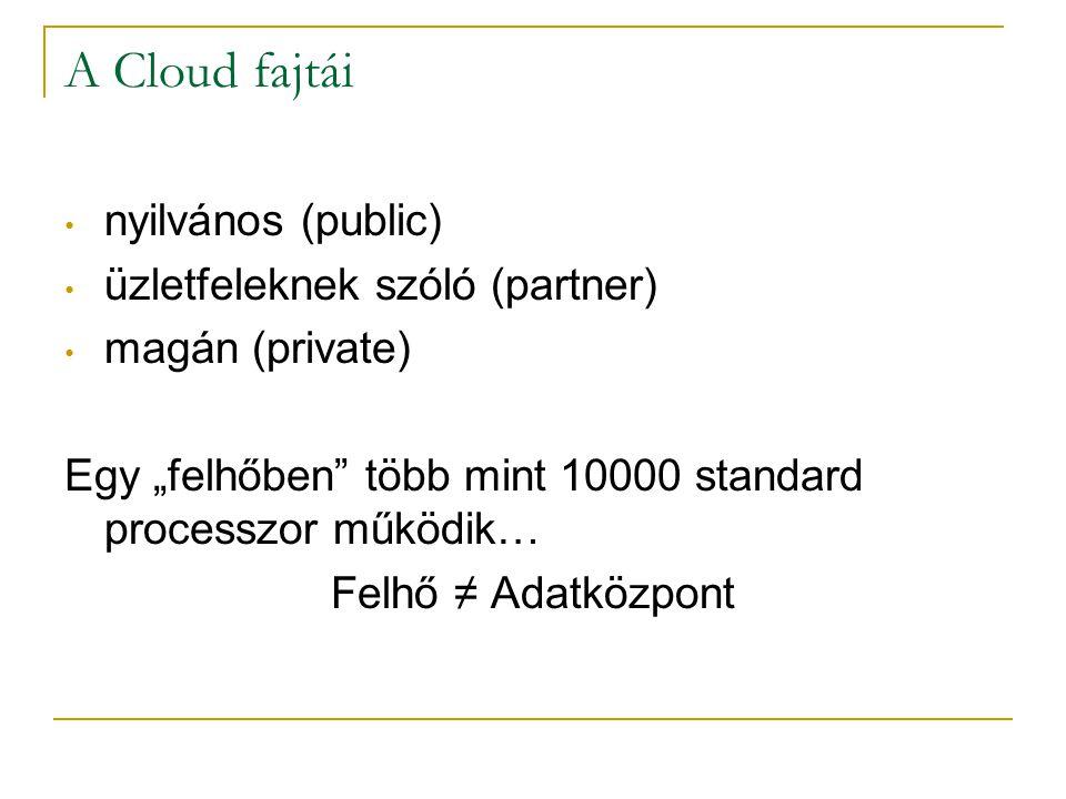 """A Cloud fajtái • nyilvános (public) • üzletfeleknek szóló (partner) • magán (private) Egy """"felhőben"""" több mint 10000 standard processzor működik… Felh"""