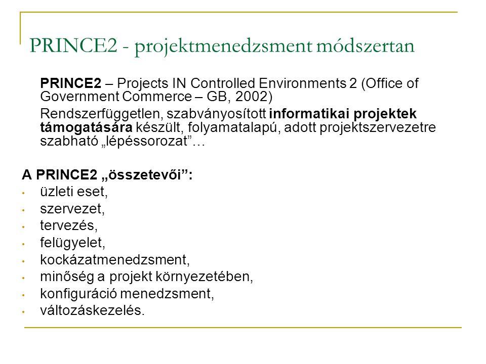 PRINCE2 - projektmenedzsment módszertan PRINCE2 – Projects IN Controlled Environments 2 (Office of Government Commerce – GB, 2002) Rendszerfüggetlen,