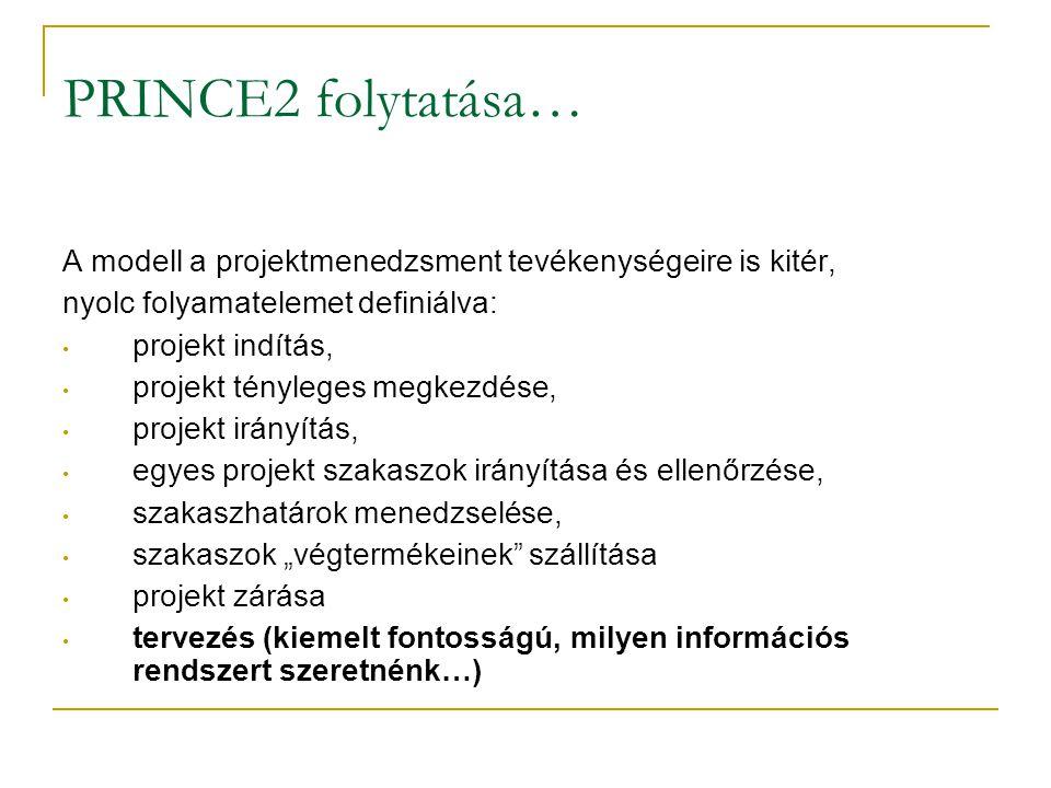 PRINCE2 folytatása… A modell a projektmenedzsment tevékenységeire is kitér, nyolc folyamatelemet definiálva: • projekt indítás, • projekt tényleges me