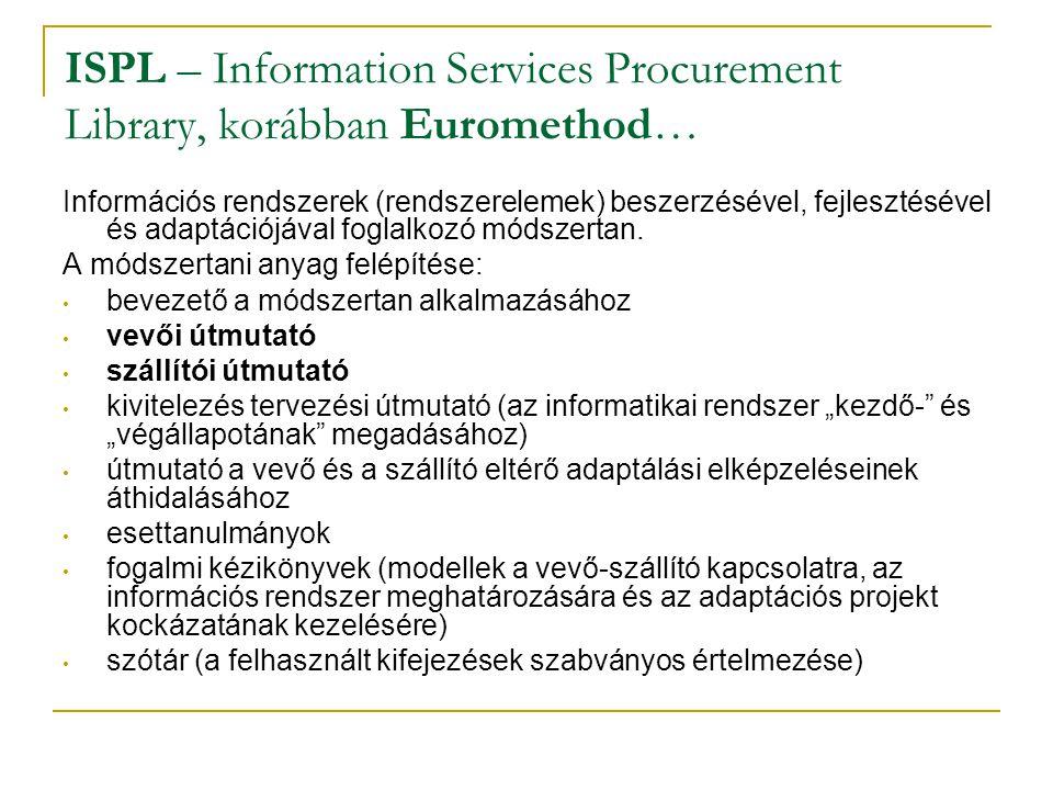 ISPL – Information Services Procurement Library, korábban Euromethod… Információs rendszerek (rendszerelemek) beszerzésével, fejlesztésével és adaptác