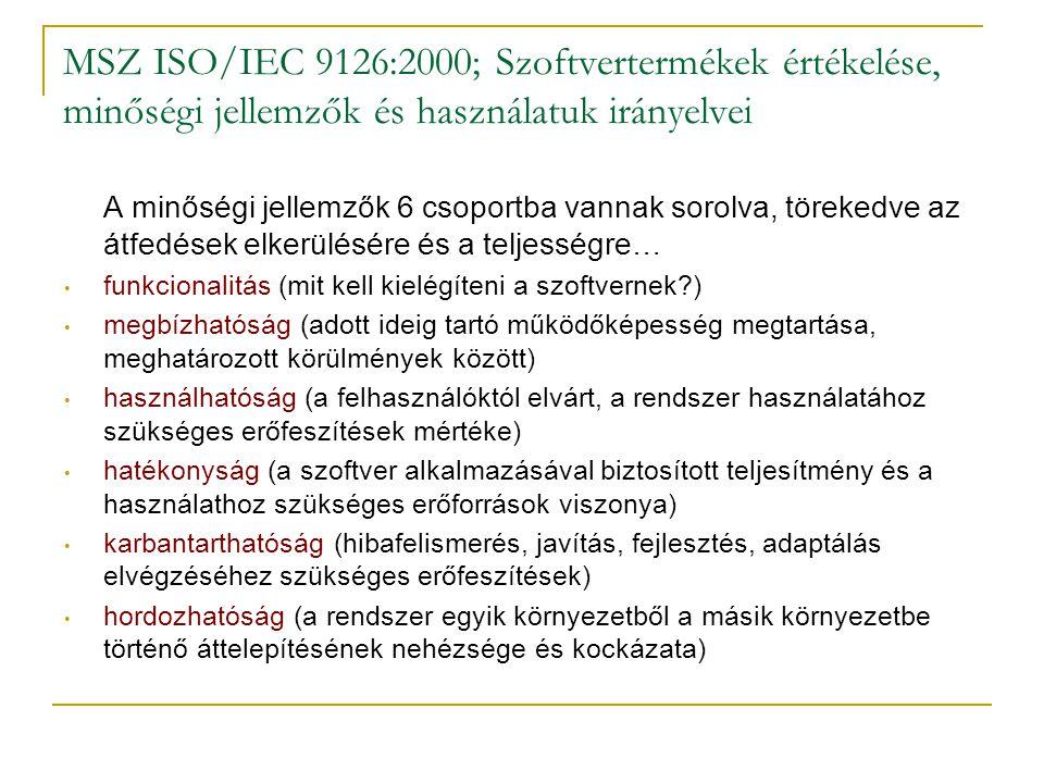 MSZ ISO/IEC 9126:2000; Szoftvertermékek értékelése, minőségi jellemzők és használatuk irányelvei A minőségi jellemzők 6 csoportba vannak sorolva, töre