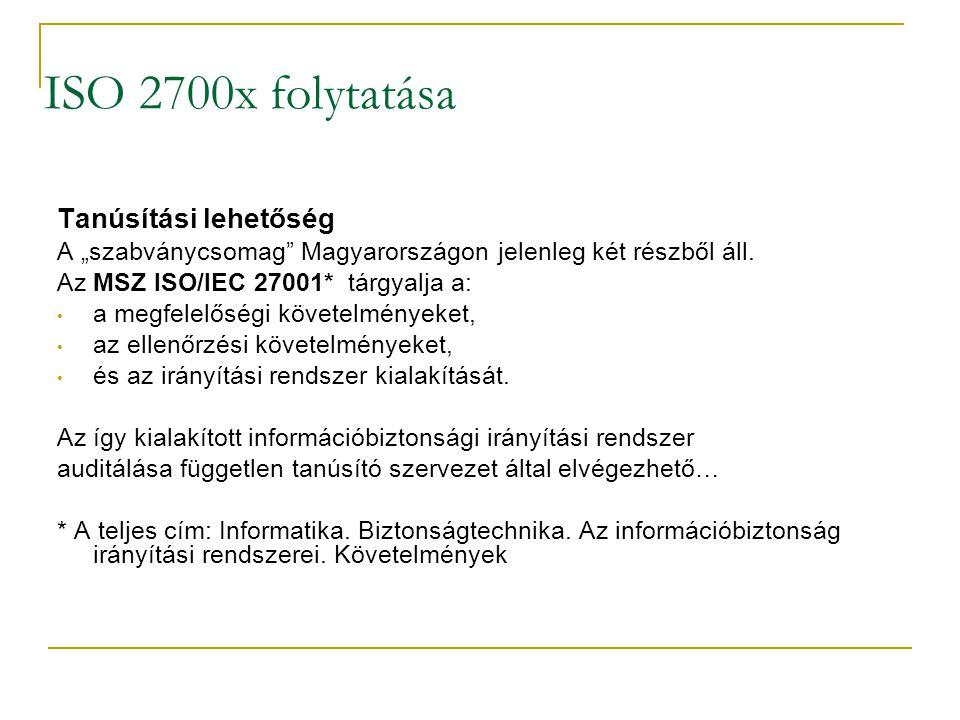 """ISO 2700x folytatása Tanúsítási lehetőség A """"szabványcsomag"""" Magyarországon jelenleg két részből áll. Az MSZ ISO/IEC 27001* tárgyalja a: • a megfelelő"""