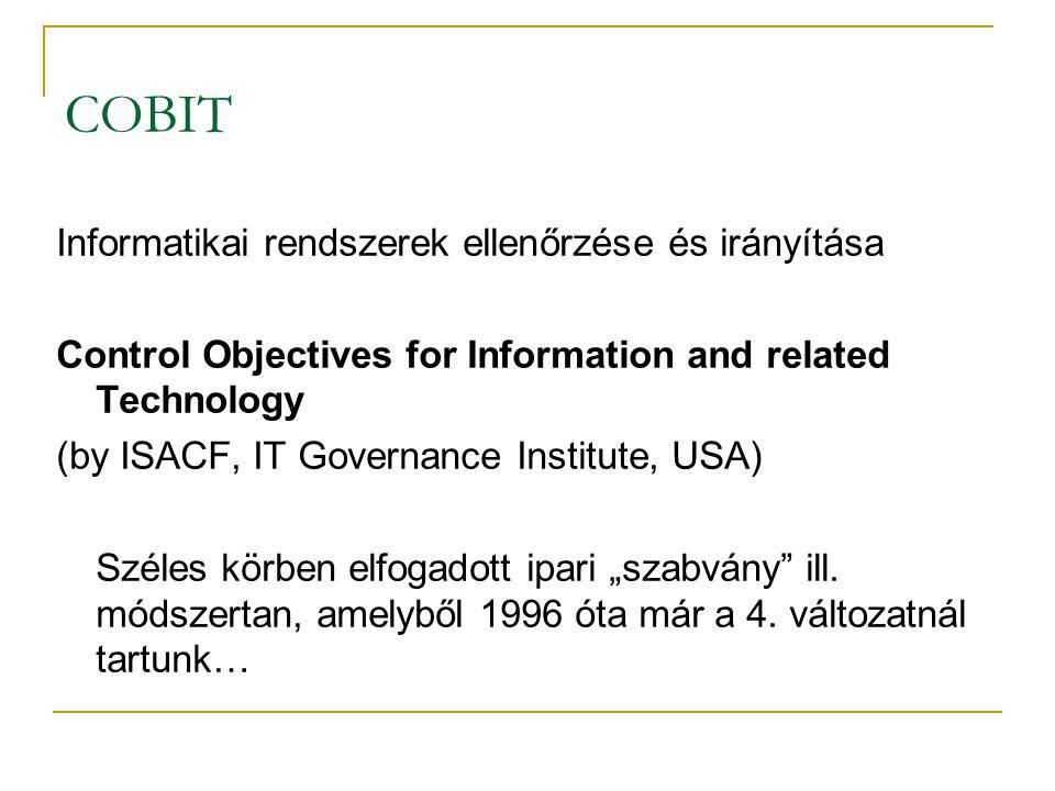 COBIT Informatikai rendszerek ellenőrzése és irányítása Control Objectives for Information and related Technology (by ISACF, IT Governance Institute,