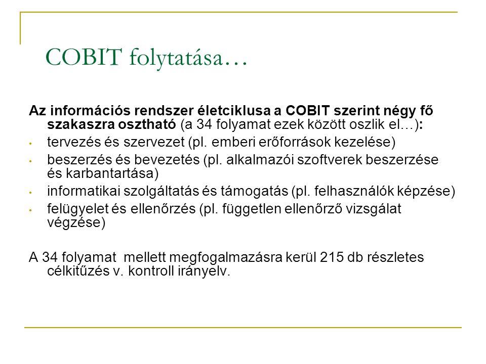 COBIT folytatása… Az információs rendszer életciklusa a COBIT szerint négy fő szakaszra osztható (a 34 folyamat ezek között oszlik el…): • tervezés és