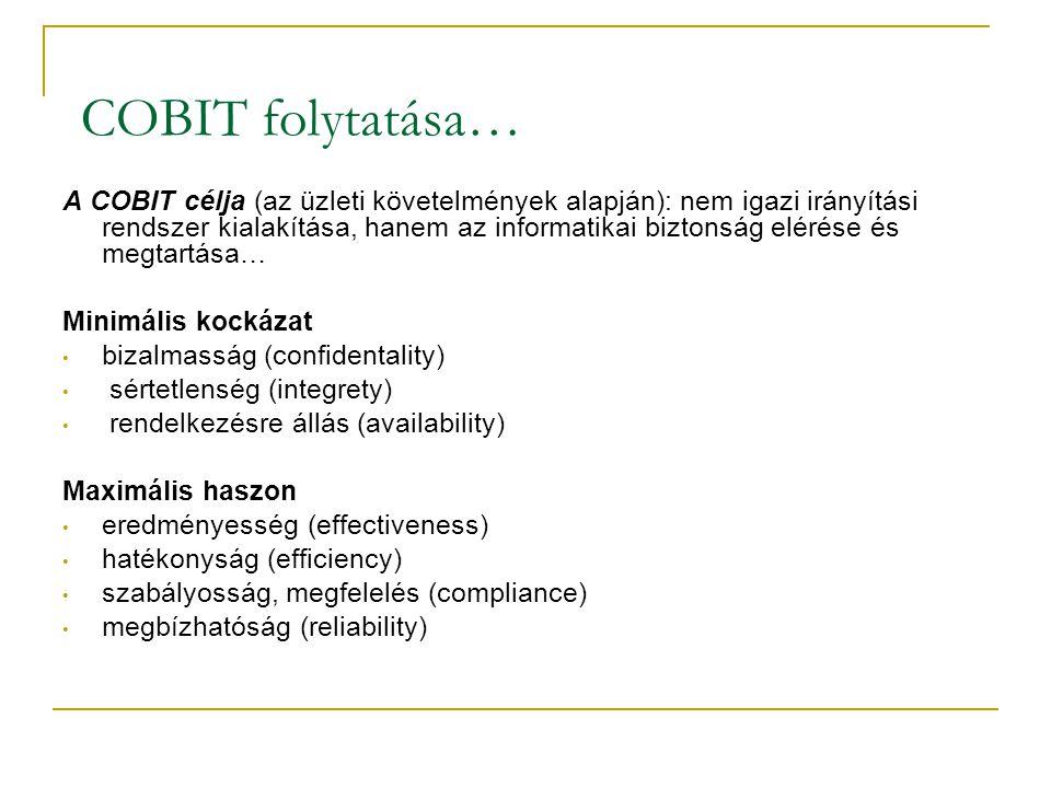 COBIT folytatása… A COBIT célja (az üzleti követelmények alapján): nem igazi irányítási rendszer kialakítása, hanem az informatikai biztonság elérése