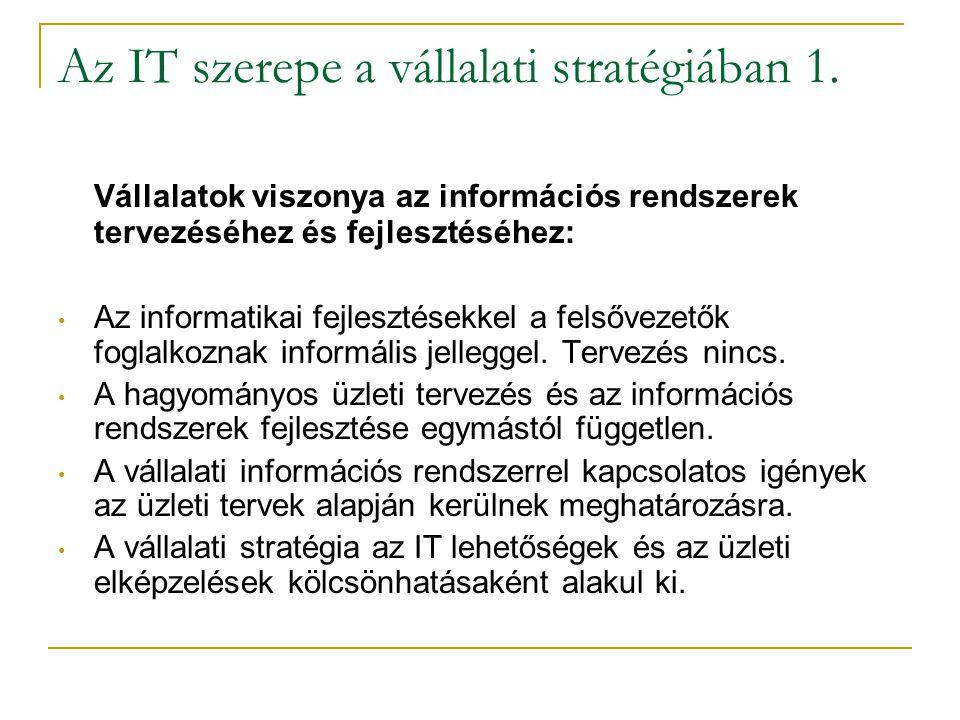 Az IT szerepe a vállalati stratégiában 1. Vállalatok viszonya az információs rendszerek tervezéséhez és fejlesztéséhez: • Az informatikai fejlesztések