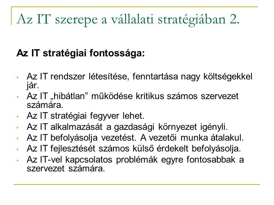 """Az IT szerepe a vállalati stratégiában 2. Az IT stratégiai fontossága: • Az IT rendszer létesítése, fenntartása nagy költségekkel jár. • Az IT """"hibátl"""