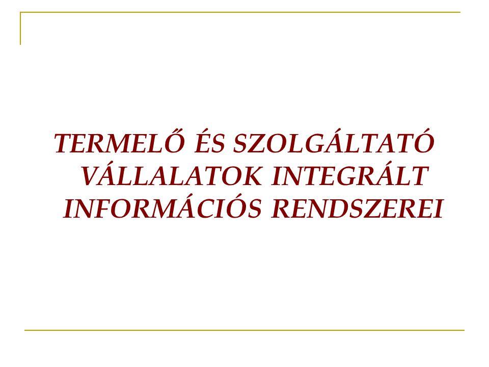 TERMELŐ ÉS SZOLGÁLTATÓ VÁLLALATOK INTEGRÁLT INFORMÁCIÓS RENDSZEREI