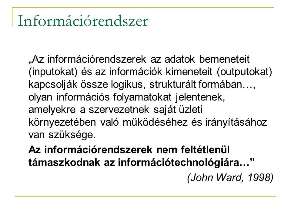 """Információrendszer """"Az információrendszerek az adatok bemeneteit (inputokat) és az információk kimeneteit (outputokat) kapcsolják össze logikus, struk"""