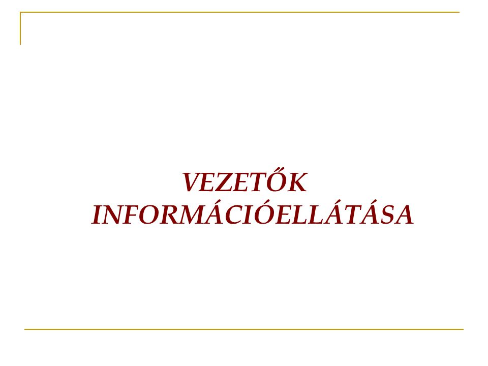 VEZETŐK INFORMÁCIÓELLÁTÁSA