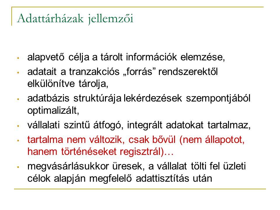 """Adattárházak jellemzői • alapvető célja a tárolt információk elemzése, • adatait a tranzakciós """"forrás"""" rendszerektől elkülönítve tárolja, • adatbázis"""