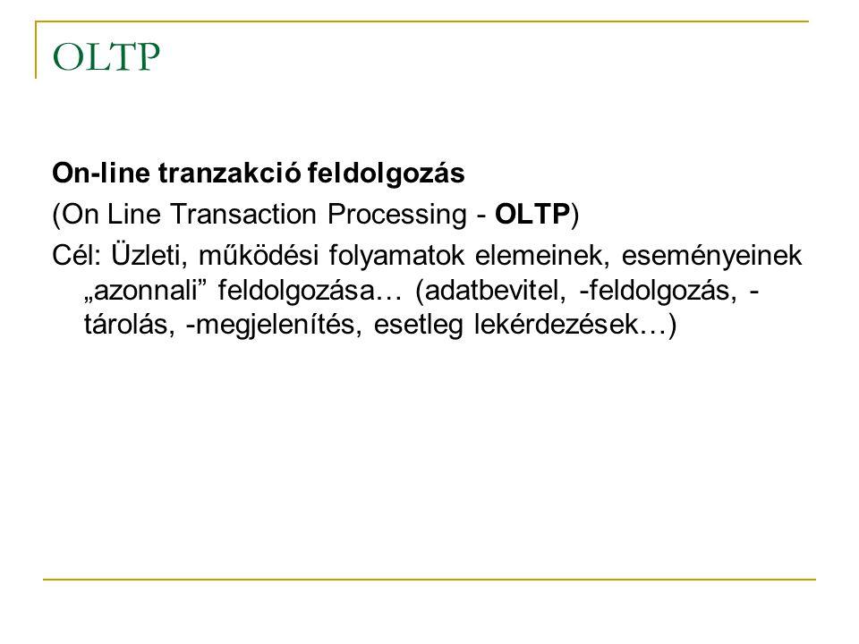 """OLTP On-line tranzakció feldolgozás (On Line Transaction Processing - OLTP) Cél: Üzleti, működési folyamatok elemeinek, eseményeinek """"azonnali"""" feldol"""