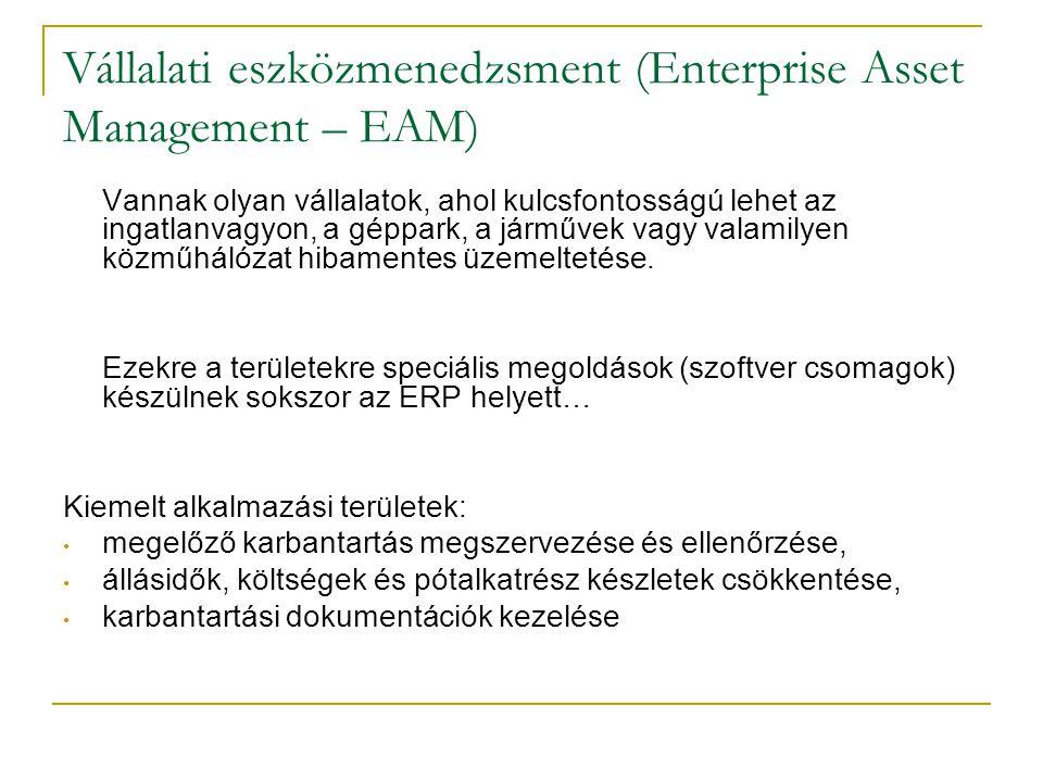 Vállalati eszközmenedzsment (Enterprise Asset Management – EAM) Vannak olyan vállalatok, ahol kulcsfontosságú lehet az ingatlanvagyon, a géppark, a já