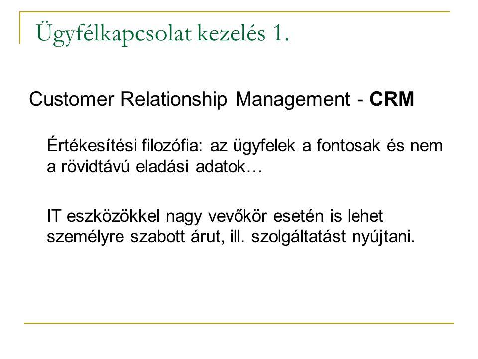 Ügyfélkapcsolat kezelés 1. Customer Relationship Management - CRM Értékesítési filozófia: az ügyfelek a fontosak és nem a rövidtávú eladási adatok… IT