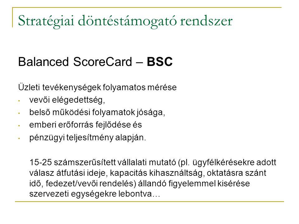 Stratégiai döntéstámogató rendszer Balanced ScoreCard – BSC Üzleti tevékenységek folyamatos mérése • vevői elégedettség, • belső működési folyamatok j