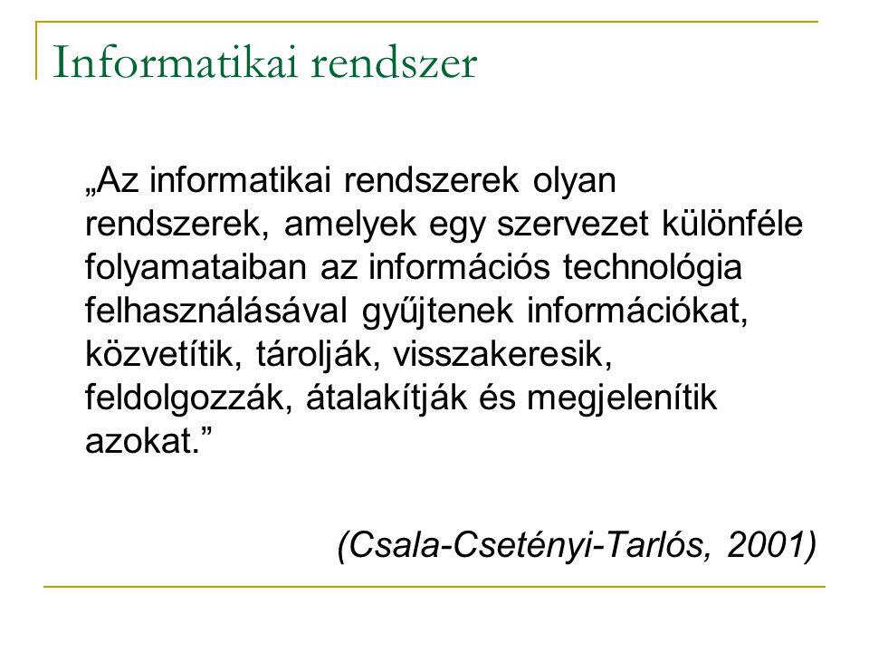 """Informatikai rendszer """"Az informatikai rendszerek olyan rendszerek, amelyek egy szervezet különféle folyamataiban az információs technológia felhaszná"""