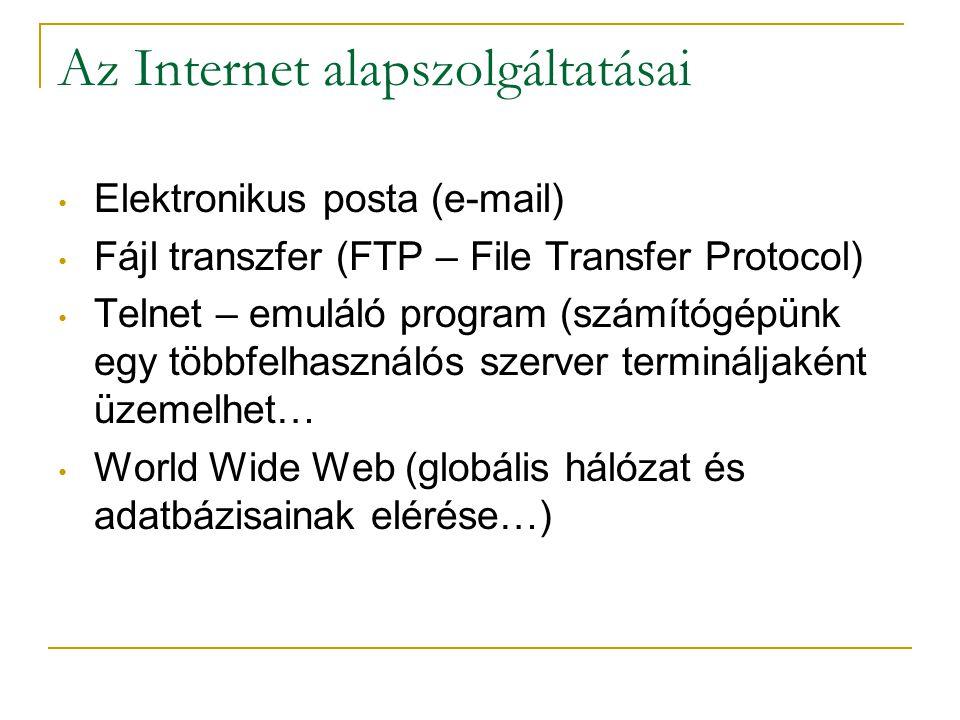 Az Internet alapszolgáltatásai • Elektronikus posta (e-mail) • Fájl transzfer (FTP – File Transfer Protocol) • Telnet – emuláló program (számítógépünk