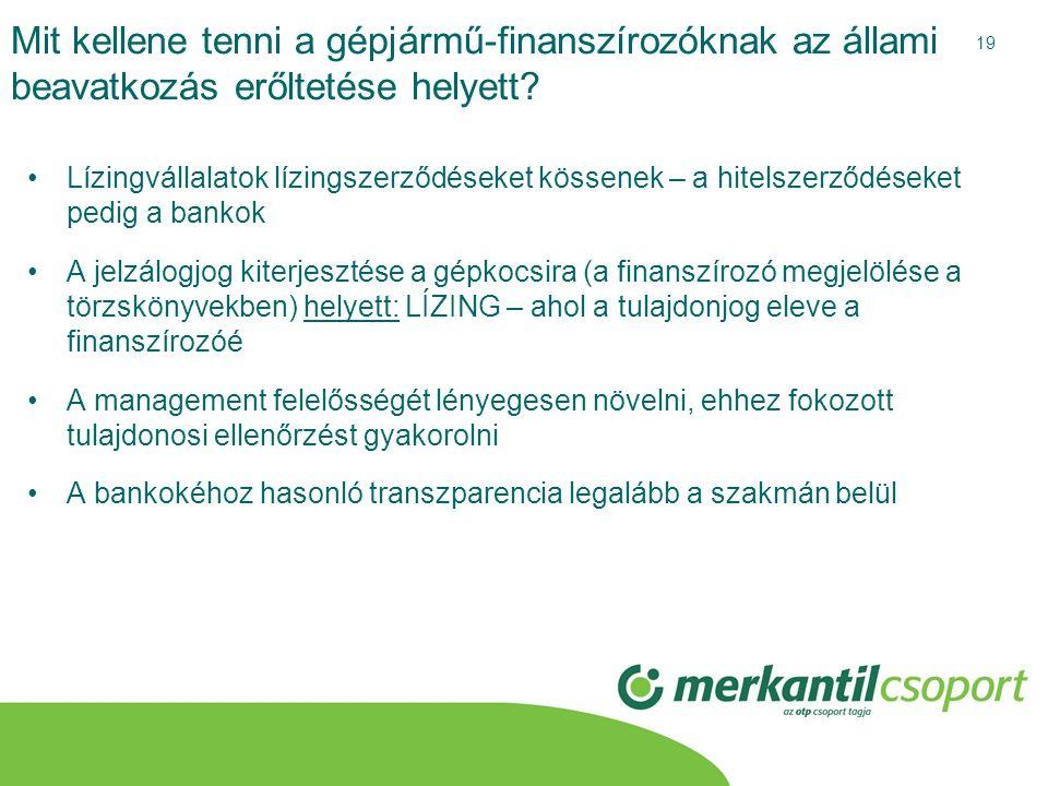 19 Mit kellene tenni a gépjármű-finanszírozóknak az állami beavatkozás erőltetése helyett? •Lízingvállalatok lízingszerződéseket kössenek – a hitelsze