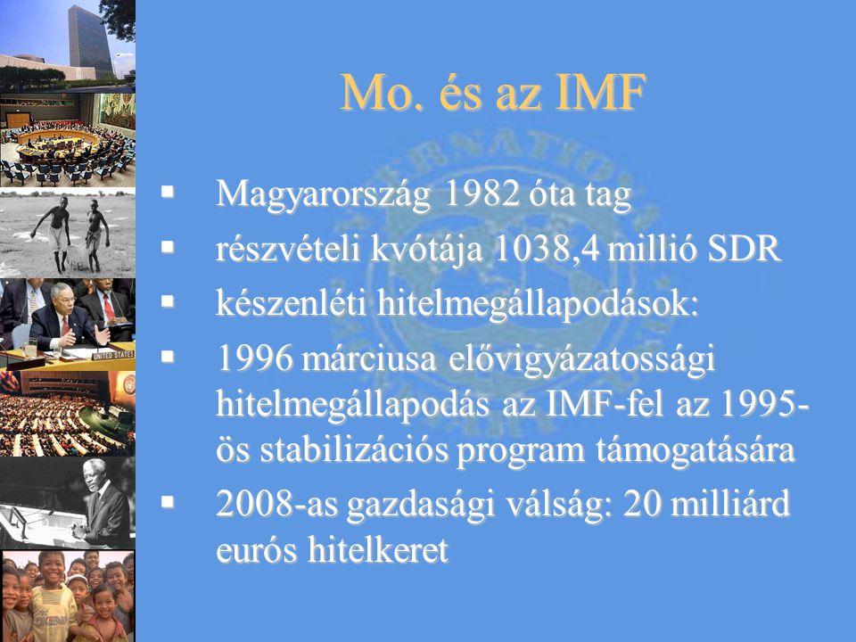 Mo. és az IMF  Magyarország 1982 óta tag  részvételi kvótája 1038,4 millió SDR  készenléti hitelmegállapodások:  1996 márciusa elővigyázatossági h