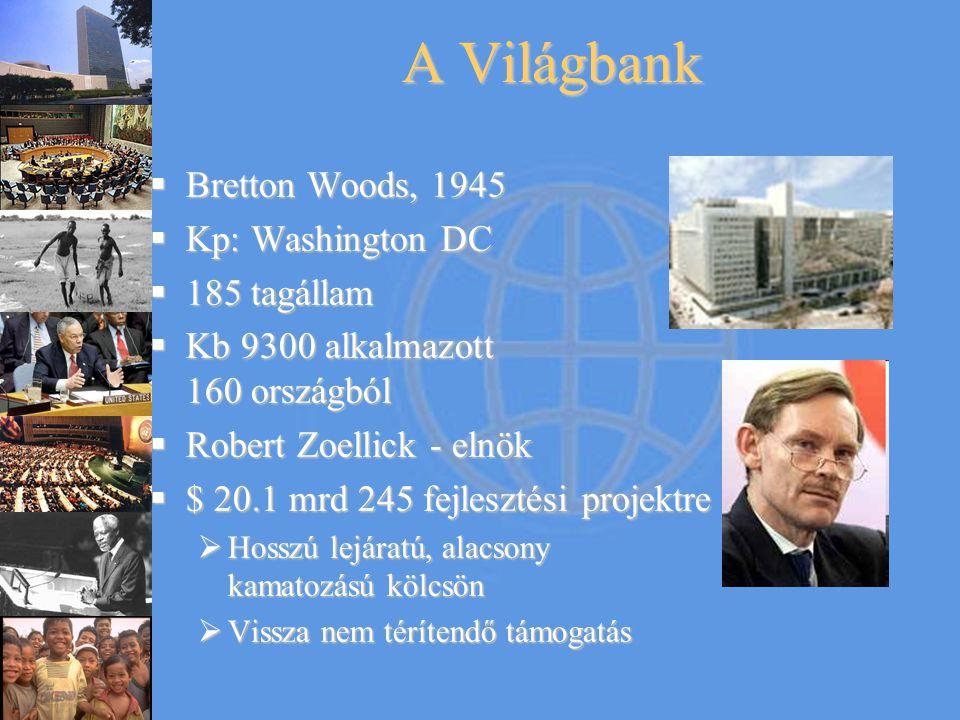 Bretton Woods, 1945  Kp: Washington DC  185 tagállam  Kb 9300 alkalmazott 160 országból  Robert Zoellick - elnök  $ 20.1 mrd 245 fejlesztési pr