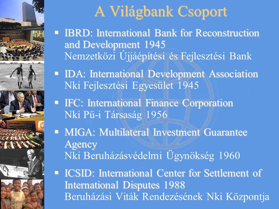 A Világbank Csoport  IBRD: International Bank for Reconstruction and Development 1945  IBRD: International Bank for Reconstruction and Development 1