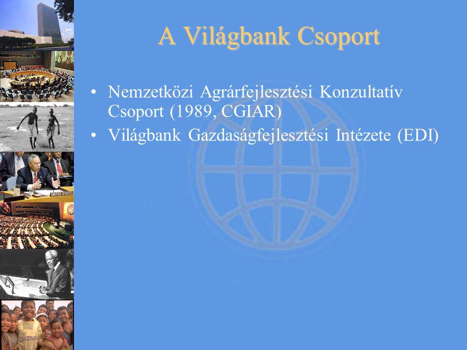 A Világbank Csoport •Nemzetközi Agrárfejlesztési Konzultatív Csoport (1989, CGIAR) •Világbank Gazdaságfejlesztési Intézete (EDI)