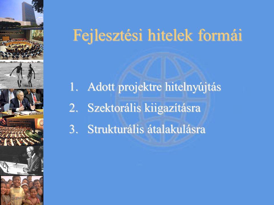 Fejlesztési hitelek formái 1.Adott projektre hitelnyújtás 2.Szektorális kiigazításra 3.Strukturális átalakulásra