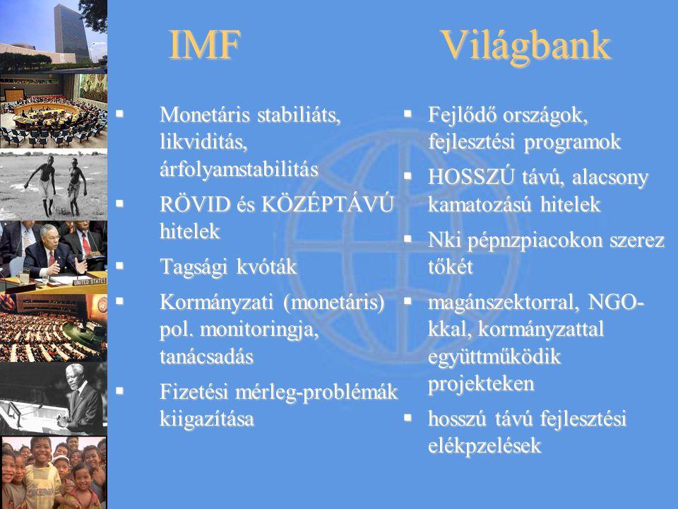 IMFVilágbank  Monetáris stabiliáts, likviditás, árfolyamstabilitás  RÖVID és KÖZÉPTÁVÚ hitelek  Tagsági kvóták  Kormányzati (monetáris) pol. monit