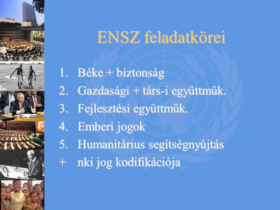 ENSZ feladatkörei 1.Béke + biztonság 2.Gazdasági + társ-i együttműk. 3.Fejlesztési együttműk. 4.Emberi jogok 5.Humanitárius segítségnyújtás +nki jog k