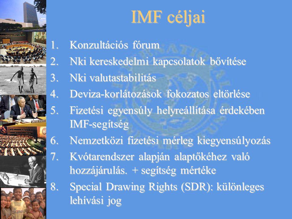 IMF céljai 1.Konzultációs fórum 2.Nki kereskedelmi kapcsolatok bővítése 3.Nki valutastabilitás 4.Deviza-korlátozások fokozatos eltörlése 5.Fizetési eg