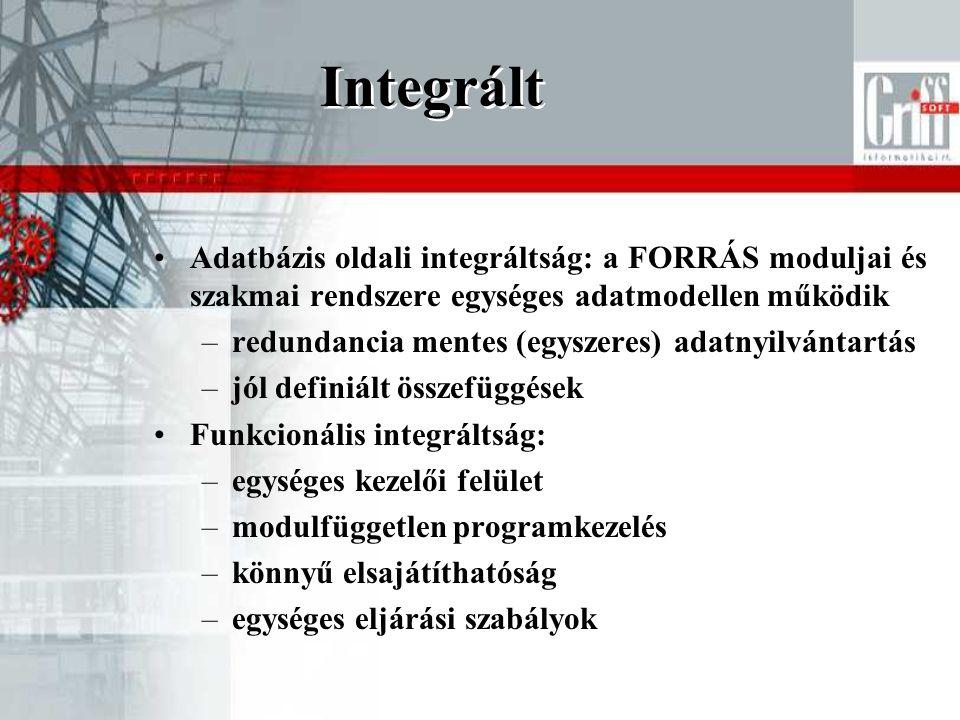Integrált •Adatbázis oldali integráltság: a FORRÁS moduljai és szakmai rendszere egységes adatmodellen működik –redundancia mentes (egyszeres) adatnyilvántartás –jól definiált összefüggések •Funkcionális integráltság: –egységes kezelői felület –modulfüggetlen programkezelés –könnyű elsajátíthatóság –egységes eljárási szabályok