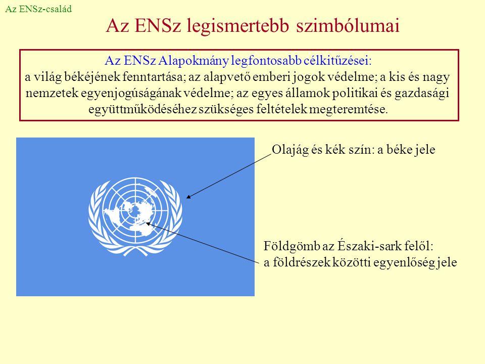 Az ENSz legismertebb szimbólumai Az ENSz-család Olajág és kék szín: a béke jele Földgömb az Északi-sark felől: a földrészek közötti egyenlőség jele Az