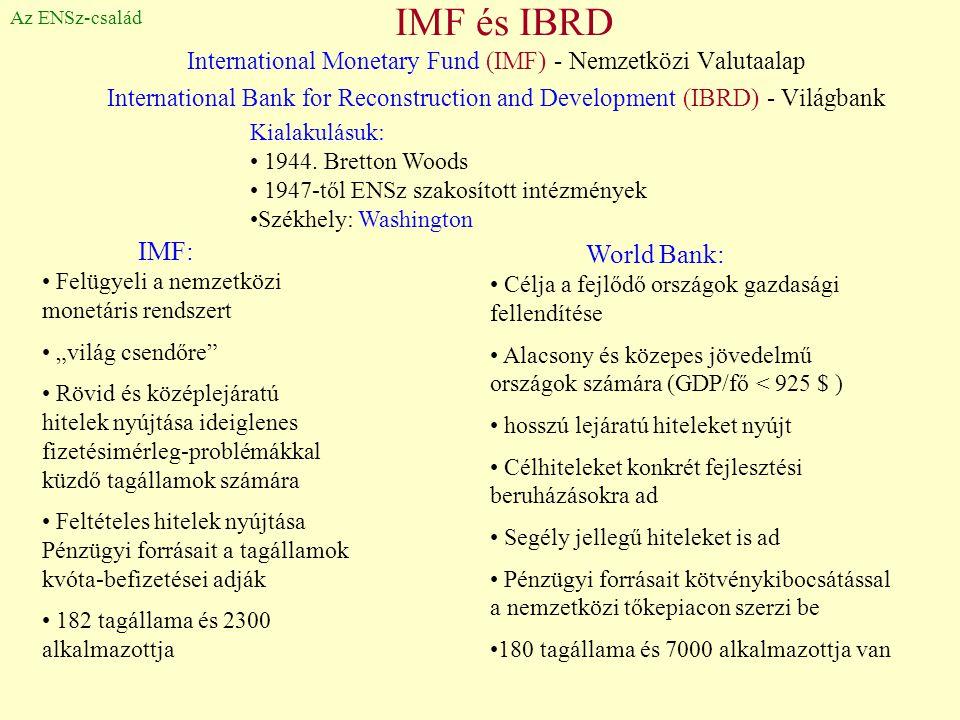 IMF és IBRD International Monetary Fund (IMF) - Nemzetközi Valutaalap International Bank for Reconstruction and Development (IBRD) - Világbank Az ENSz