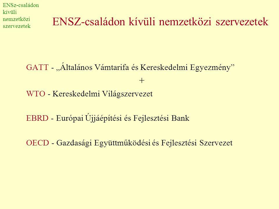 """ENSZ-családon kívüli nemzetközi szervezetek GATT - """"Általános Vámtarifa és Kereskedelmi Egyezmény"""" + WTO - Kereskedelmi Világszervezet EBRD - Európai"""