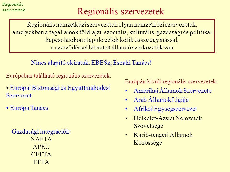 Regionális szervezetek Európán kívüli regionális szervezetek: •Amerikai Államok Szervezete •Arab Államok Ligája •Afrikai Egységszervezet •Délkelet-Ázs